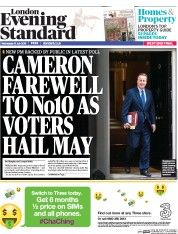 London Evening Standard (UK) Newspaper Front Page for 14 July 2016