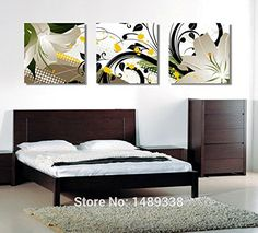 Charming modern flowers paintings for living room wall pictures on the wall print on canvas 3 panel pictures 50x50cmx3 with frame ** Visit the image link more details.