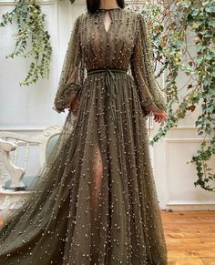 FloryDay / Elegant Solid Round Neckline Maxi X-line Dress Beaded Prom Dress, Beaded Gown, Lace Evening Dresses, Prom Dresses, Formal Dresses, Glamouröse Outfits, Classy Outfits, Floryday Vestidos, Rose Gown