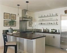 dark wood countertop on island