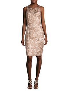 Embroidered Mesh Sheath Dress by Marchesa Notte at Gilt