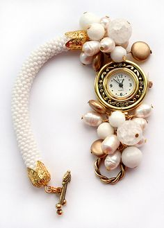 Bead crochet rope watch with pearls. Delicate and elegant.