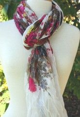 Blue Pacific - Cream Floral Scarf
