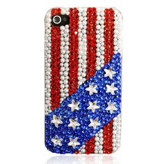 Handmade Stars And Stripes Rhinestone iPhone 4 /  real pretty