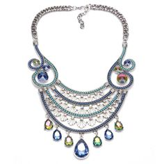 Fuliru Statement Necklaces / Chunky Necklaces A collection of Fashionable Statement Necklaces handfuly picked to compliment and complete you outfits. Rainbow Water, Silver Necklaces, Women's Necklaces, Water Drops, Flower Necklace, Silver Plate, Turquoise Necklace, Gems, Chain