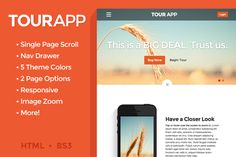 Tour App - One Page Scrolling Site by Le Pixel Chef on Creative Market