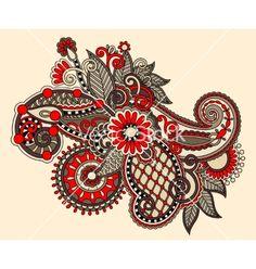 Original digital draw line art ornate flower vector - by kara-kotsya on VectorStock®