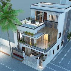 Best Modern House Design, Modern Exterior House Designs, Dream House Exterior, Exterior Design, Exterior Colors, 3 Storey House Design, Bungalow House Design, House Front Design, Architect Design House