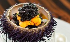Marinated Botan shrimp with sea urchin and caviar by chef Testuya Wakuda of Waku Ghin. © Marina Bay Sands - See more at: http://theartofplating.com/editorial/destination-guide-singapore-restaurants/#sthash.xnwUCfbU.dpuf