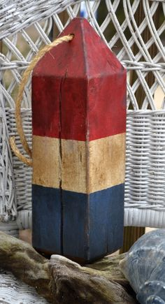 Larger Driftwood Buoy Hand Painted Americana Rustic Primitive Look  by CarovaBeachCrafts,  Custom Ordering Accepted