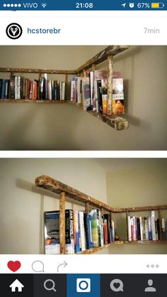 alte holzleiter wandregal selber machen make old wooden ladder wall shelf yourself Pin: 600 x 901 Old Wooden Ladders, Wooden Crates, Ladder Bookshelf, Bookshelf Ideas, Bookshelf Design, Shelving Ideas, Creative Bookshelves, Diy Ladder, Storage Ideas