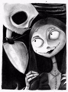 Jack y sally Tim Burton Style, Tim Burton Art, Halloween Series, Halloween Art, Jack Skellington Drawing, Jack Y Sally, Drawing Sketches, Art Drawings, Pixie Tattoo