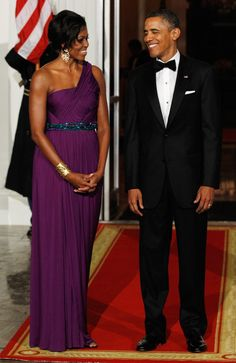 Wearing Korean-American designer Doo-Ri Chung at a state dinner with | The 30 Most Magnificent Gowns Michelle Obama Wore While in the White House | POPSUGAR Fashion