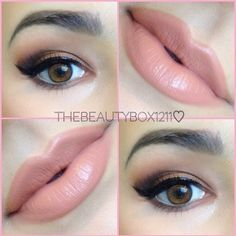 Beautiful makeup, lips MAC Stripdown lip liner, MAC Kinda Sexy lipstick, Korres Lip Butter in Guava by jlaberge