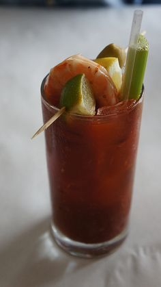 Most amazing bloody mary in the world!! Complete with lime poached shrimp.