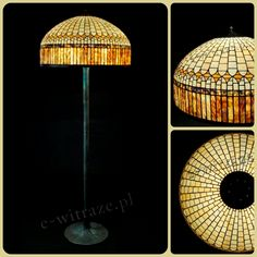 Wieniawa Piasecki lamp, inspired by L.C. Tiffany Banded Dogwood Lamp #tiffany #lamp www.e-witraze.pl #manmade #stainedglass #handcrafted #unique #metalware #louis #comfort #glass  #floorlamp www.e-witraze.pl #poland #design #art #light #geometric #retro #vintage