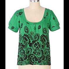 "Anthro ""Alligator Pear Scoopneck"" NWOT Super soft jersey cotton wide scoopneck by C Keer. Bright Kelly green and deep black. Adorned with every floral shape imaginable. The color was not good for me so I ember wore this. NWOT. Prove firm, no trades or PayPal. Anthropologie Tops"