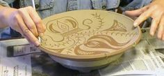 Denise Wilz demonstrates how she makes pottery in the Pennsylvania Redware style –  and it combines sgraffito and slip decoration.