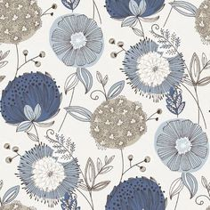"Brewster Home Fashions Wall Vision 33' x 20.9"" Valda Modern Floral Wallpaper Color: Navy"