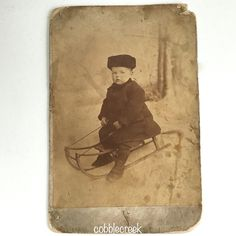 Boy On Sled Antique Cabinet Card St John's by GraciesCottage