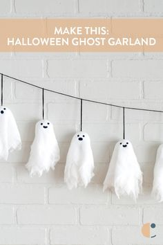 Cute with a bit of spook! Decorate with a DIY Halloween banner featuring these easy and kid-friendly mini ghosts. Eek! Halloween is almost here! #Curbly-Original, #Halloween, #Halloween crafts, #halloween decor, #garland, #banner, #ghost, #cute