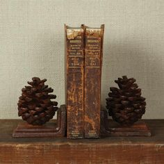Luxe Cottage Pine Cone Bookends - Cast Iron | eBay