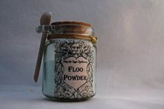 FLOO POWDER!  Decorative Harry Potter Glass Jar of Magical Powder. on Etsy, $13.00. Will be great right by the fireplace!