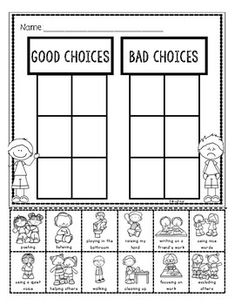 Mom Discover Good and Bad Choices Student Sort Free Good and Bad Choices Student Sort is a great resource to help introduce classroom expectations at the beginning of the year Classroom Expectations, Classroom Behavior Management, Classroom Rules, Preschool Learning, Kindergarten Classroom, Learning Activities, Classroom Decor, Teaching Boys, Preschool Worksheets