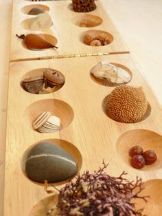 Mantle and tabletop display, Home decor, eclectic collection, seeds, stones, feathers, bone, sea glass, pine cone, shells, seaweed