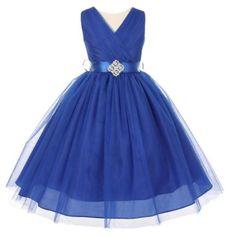 bd409d255 Big Girls Royal Blue V Neck Rhinestone Brooch Tulle Junior Bridesmaid Dress  10 #bridesmaiddresses Royal