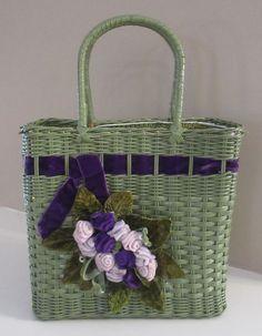 VTG Cottage Green Purple Wicker Basket Box Purse Velvet Roses Flowers Garden Party Summer