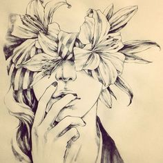 Pencil sketch! Combination of flower and female portrait! Beautifully blend