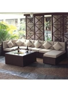 outdoor lounge - Furniture I love - Balcony Furniture Design Outdoor Furniture Small Space, Small Patio Design, Sofas For Small Spaces, Outdoor Furniture Covers, Outdoor Spaces, Living Spaces, Furniture Sofa Set, Balcony Furniture, Outdoor Garden Furniture