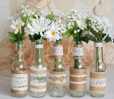 Rustic Burlap Centerpiece Bottle Vases, Wedding or Party Dec.- Rustic Burlap Centerpiece Bottle Vases, Wedding or Party Decor, SET of 5 Rustic Burlap Centerpiece Bottle Vases Wedding or Party Burlap Centerpieces, Rustic Wedding Centerpieces, Bridal Shower Decorations, Flower Centerpieces, Rustic Weddings, Outdoor Weddings, Indian Weddings, Romantic Weddings, Centerpiece Ideas