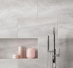 Perla Grey Matt Stone effect Ceramic Wall & floor tile, Pack of Kohler Bathroom, Best Bathroom Vanities, Downstairs Bathroom, Modern Bathroom, Bathrooms, Bathroom Ideas, Bathroom Inspo, Small Tiled Shower Stall, Matt Stone