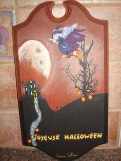 peinture acrylique sur bois Halloween