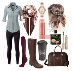 """""""Fall Cutie"""" by emmasorrell on Polyvore featuring Jockey, LE3NO, Burberry, Cole Haan, Michael Kors, American West, The Created Co., Nest Fragrances and Stila"""
