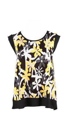 Haut CASSISE NOIR/JAUNE,imprimé Marguerite jaune et blanc,à porter avec un pantalon large noir ou 5 poches blanc ou jaune.vendu sur www.depechmod.fr