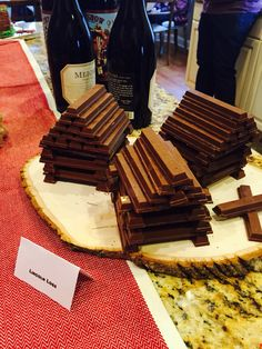 kit kats for lincoln logs--make little houses for sweets table against dining room windows