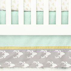 Woodlands Deer Bumperless Crib Bedding