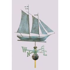 Nautical Weathervane - Schooner - Polished or Antiqued