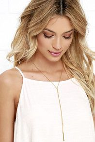 "Lulus Exclusive! Sometimes the perfect outfit idea will just come to you, and no doubt, it will center around the Free Flowing Gold Drop Necklace! Fine gold-plated chain meets a small pendant while two drop chains end in larger pendants below. Chain measures 18"""" around, plus a 1.5"""" extender chain. #CuteDresses #TrendyTops, #FashionShoes #JuniorsClothing"