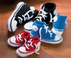 We have FREE Patterns in both Knitting and Crochet plus in Booties to Adult size for these popular Converse Slippers. They'll make gorgeous gifts!