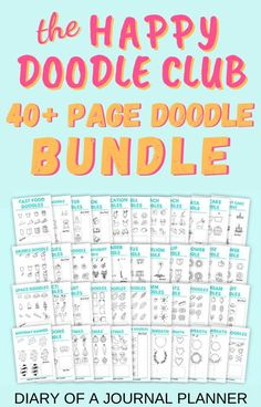 Become a doodling pro with our instant download Happy Doodle Club Bundle with 40  pages of doodle tutorials! #bulletjournaldoodles #doodles #howtodraw #printables #doodling #doodleguides