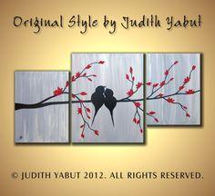 "Original Abstract ""Love Birds on Red Blossom Tree Branch"", Metallic silver, gray, black, impasto, wedding gift, pallete knife Painting. $220.00, via Etsy."