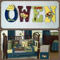 Construction Zone Crib Bedding Nursery Custom Children S Wood Letters By Splendidlysy On Etsy