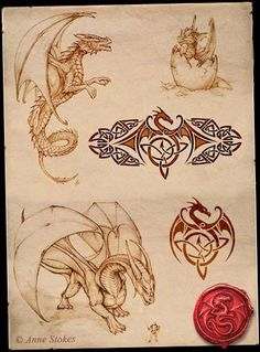 ~ Dragon Sketches - if I had the cajones, I would get two of the baby dragon tattooed on my shoulder...
