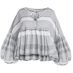 Striped Balloon Sleeve Tie Top by New Revival ($68) ❤ liked on Polyvore featuring tops, blouses, shirts, grey striped shirt, striped top, tie top, grey blouse and gray blouse