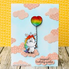 """This cute unicorn by Gerda Steiner Designs is floating along on pink clouds to wish someone a magical birthday! More pictures, a list of supplies and a """"walk through"""" on how to make this card can be found on my blog ;o) Happy crafting! maikreations"""