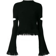 Zoe Jordan cut-out fringe jumper ($375) ❤ liked on Polyvore featuring tops, sweaters, black, cutout-shoulder sweaters, cut-out shoulder sweaters, jumpers sweaters, fringe sweaters and cut out detail top